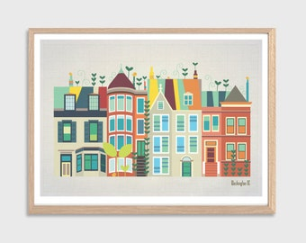 AMERICA | Baby Went to DC Poster  : Modern Townhouses Illustration Retro Art Wall Decor Print