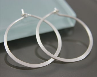 "Medium 1"" Sterling Silver Flat Hammered Satin Hoop Earrings Eco Friendly Recycled Silver"