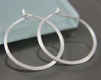 "Medium 1"" Sterling Silver Flat Hammered Satin Hoop Earrings Eco Friendly Recycled Silver"