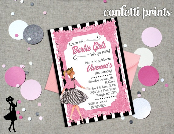 Vintage Barbie Birthday Invitation Printable By