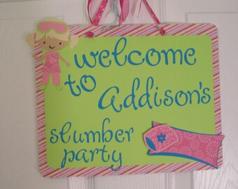 Slumber Party Sign-Sleepover Party Sign - Girls Sleepover Party