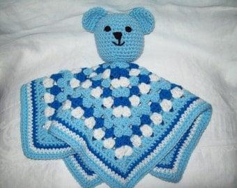 Teddy Bear Security Blanket, Crochet Blue Bear Security Blanket,  Crochet Bear Snuggle Buddy Blanket Toy, Blanket Bear
