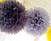 LIGHT GRAY or CHARCOAL Tissue Paper Pom Pom / Christmas Decoration / Baby Shower Decorations / Tissue Poms