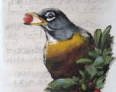 American Robin Song Bird Painting on Sheet Music, Fine Art,  Original Oil Paintigng Bird Art on Etsy