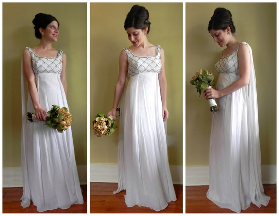 Vintage 60's Goddess Wedding Dress With Beaded Bodice And