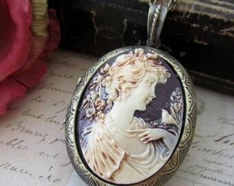 Large Lady Cameo Locket Necklace, Vintage Inspired Oval Lady with Bird Cameo Locket Necklace