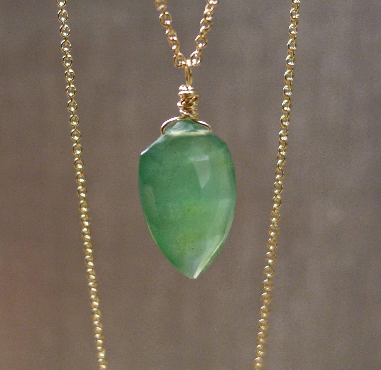 Green Serpentine Necklace Faceted Briolette Pendant Green  Green Serpentin...