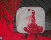 Grey felt pouch with red Flamenco motif, Purse, Makeup bag, Pencil case, Needle felted, red dancer