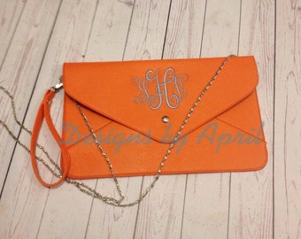 Monogrammed Clutch Purse/ envelope  clutch purse/ monogrammed purse - WITH SILVER CHAIN