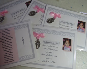 25  BAPTISM FAVORS medal cards personalized