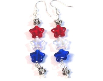 Red, Clear AB, Blue & Silver Hanging Star Earrings, Patriotic, 4th of July Jewelry, Fourth of July Jewelry, Summer Fashion