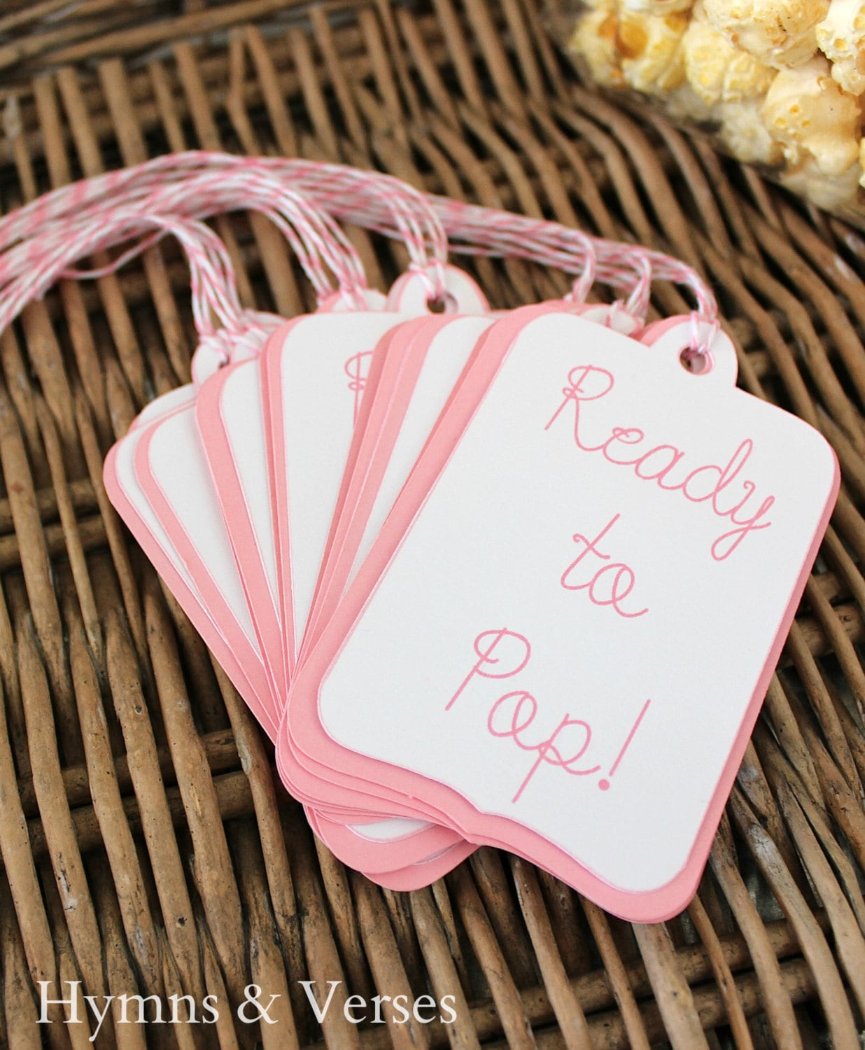 ready to pop 15 baby shower popcorn favor tags by hymnsandverses