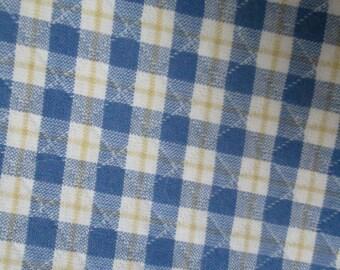 Blue Yellow Gingham Fabric
