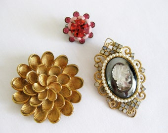 Vintage Brooch Pins, Brooch Collection, 1950's and 1960's Brooches, Flower Brooch, Brooch Set