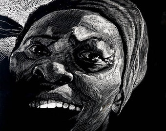 """Art print black and white Scratchboard """"Tomasa"""" One of series of character studies by German Hevia. Archival Injet, Gicleé print."""