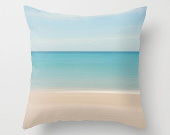 Beach Decor Photography Pillow Beach Cottage Living Room Pastel Aqua Turquoise Beige Blue Nautical Stripes Preppy Tropical Home Abstract