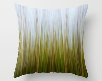 Abstract Grass Photography Pillow or Pillow Cover Living Room Bedroom Decor Coastal Marsh Lime Green Yellow Blue Beach Cottage Decor