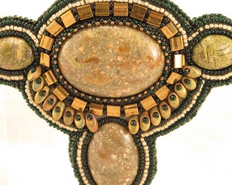 Barrette,  Ukanite cabs, magatama beads, tila beads, seed beads