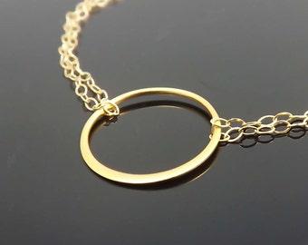 Gold Eternity bracelet, Ring bracelet, circle bracelet, Gold bracelet, All Gold filled- simple everyday jewelry -  gift for BFF, Mom, friend