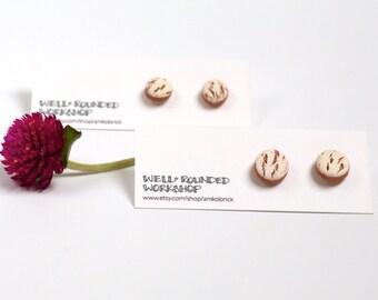White Birch Bark Terracotta Ceramic Stud / Post Earrings - Handmade