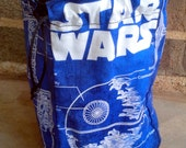 Blue Star Wars Schematic Large Square Padded Flat-Bottom Dice Bag