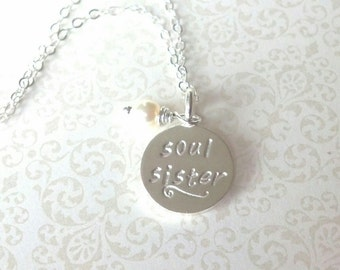 Soul Sister Silver Hand Stamped Silver ROund Disc Bestfriend Necklace