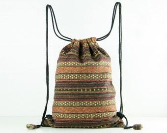 Ethnic Woven Textile Drawstring Bag/ Backpack Laundry Bag/ Shoe bag/ Gym Bag/ Cloth Bag