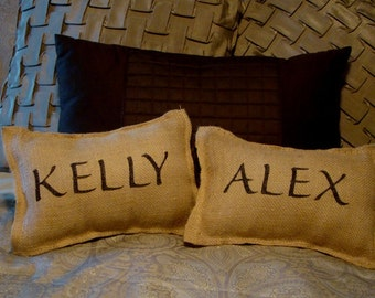 Set of 2 Personalized Wedding Mr. and Mrs. Burlap Pillows