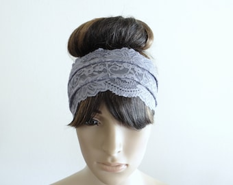 Grey Lace Headband. Grey Head Wrap