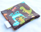 Large Snack Bag - Reusable - Zippered or Snap - Waterproof - Food Storage - Lunch - Party Favor - Wipeable - Dinosaur - Dino Dudes