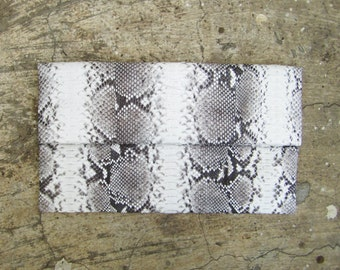 BASIC -Natural Fold Over Python Snakeskin Leather Clutch
