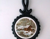 Currier and Ives A Home in the Wilderness Cast Iron and Ceramic Tile Trivet Vintage 1970s
