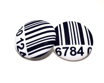 Oversized Barcode Print Button Earrings