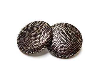 Medium Gold Metallic Print Button Earrings
