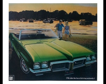 Day at the Beach.  Illustrated 69 Pontiac LeMans Green Convertible.  13 1/2 x 10 1/2 Ready for Framing.