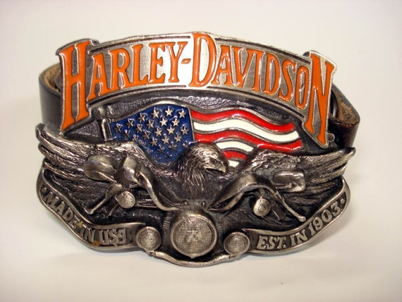 ceinture en cuir vintage avec baron usa cast harley davidson. Black Bedroom Furniture Sets. Home Design Ideas