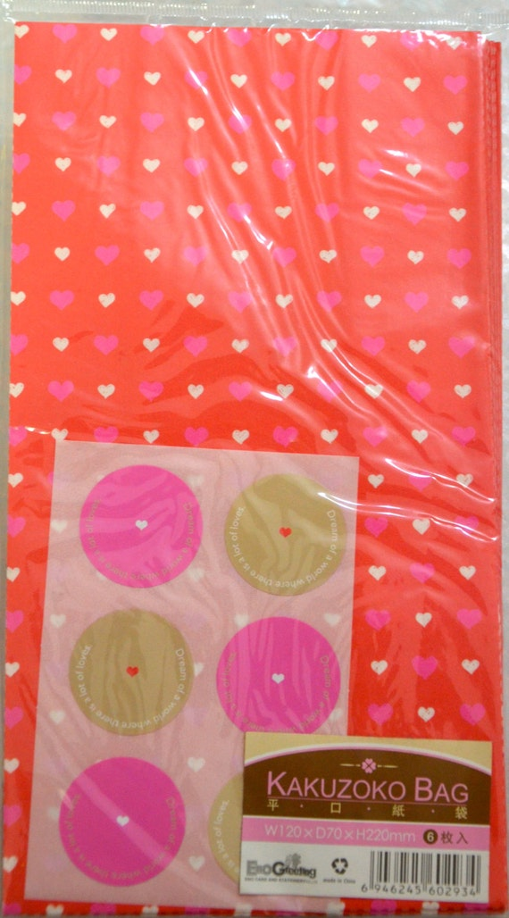 A Set of 6 Japanese Kraft Gift Bags -Hearts