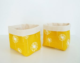 Canvas Storage Baskets - Premier Prints Small Dandelion Slub White/Yellow - Set of 2 - Home Decor - Gift Basket