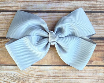 Grey Hair Bow - Simple Classic Silver Hair Bow