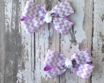 Lavender Hair Bow - Chevron Pig Tail Set - Purple and White Bow