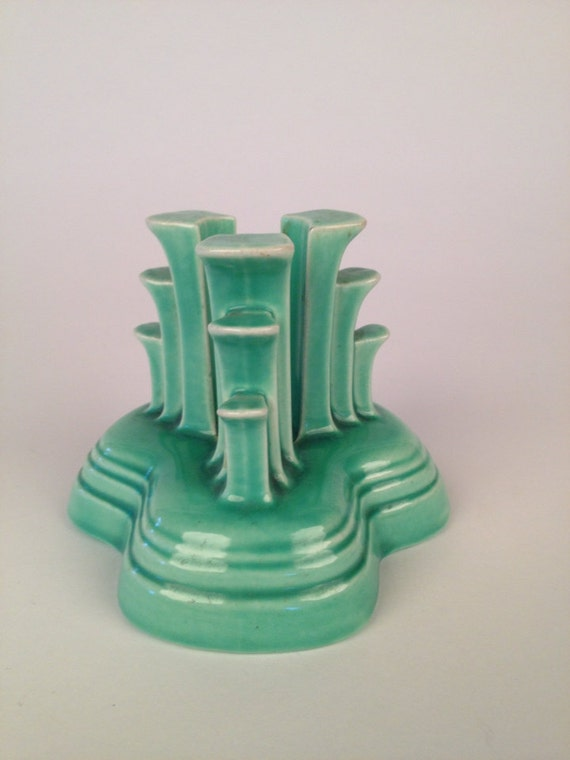 Vintage fiestaware tier candle holder in green