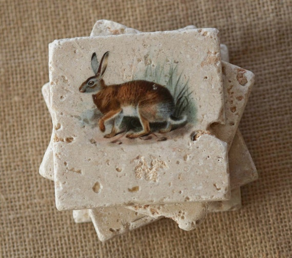 Rabbit coasters bunny decor art rabbits bunnies by lotuspetale for Rabbit decorations home