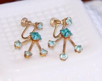 Vintage Blue Stones Gold Tone Screw Earrings - Five Rhinestones - Aquamarine Color - Unusual Jewelry