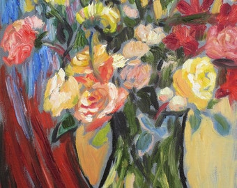 """Original floral still life~ fauvist abstract impressionist oil painting by Rivkah Singh """"For Me?"""""""