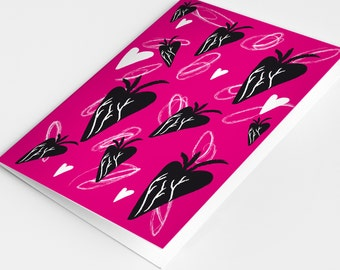 gift card heart neon hot pink black graphic graffiti