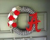 Houndstooth Alabama Football Wreath - Roll Tide