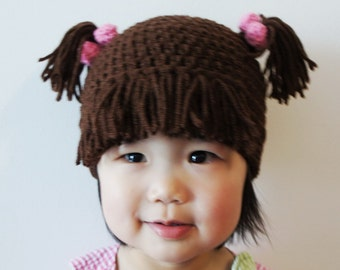 Monster Hat, Boo, Girl, Crochet Monster Hat, Crochet Baby Hat, Animal Hat, Brown, photo prop, Inspired by Monsters Inc