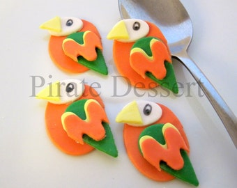 ORANGE PARROT Edible cupcake toppers - Bird Cupcake - Tropical party set - Parrot Cupcake - Luau - Pirate cupcake (ORANGE Parrot) (6 pieces)