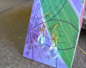 Iridescent Teardrop Gold Earrings