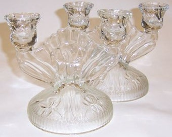 Jeannette Crystal Vintage Iris and Herringbone Depression Glass Double Candle Holders, Pair